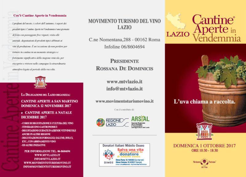 Cantine aperte in Vendemmia 2017 in Lazio