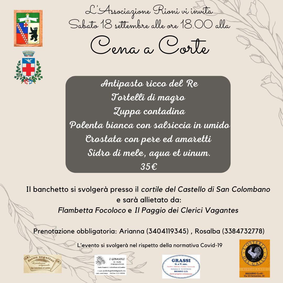 Cena a Corte al Castello di San Colombano al Lambro