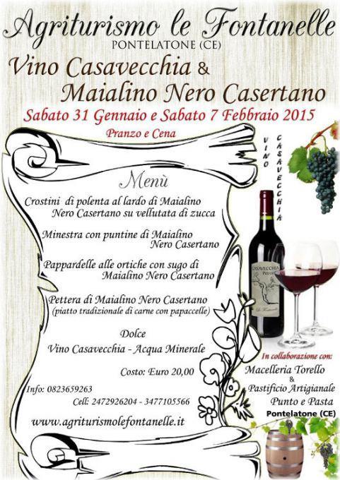 Vino Casavecchia e Maialino Nero Casertan all'Agriturismo le Fontanelle a Pontelatone